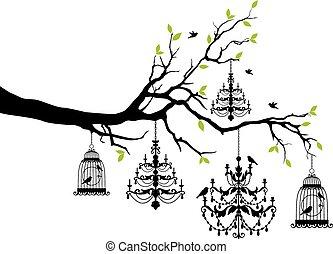 árvore, com, lustre, e, birdcage