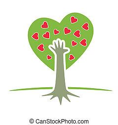 árvore, com, mão, e, corações