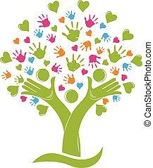 árvore, com, mãos, e, corações, família, figuras, logotipo