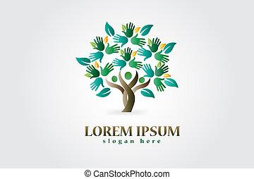 árvore, com, mãos, e, corações, figuras, logotipo