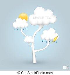 árvore, com, nuvens, tempo