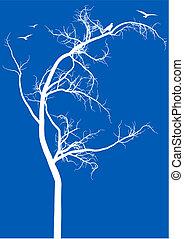 árvore, com, pássaros