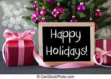 árvore, com, presentes, bokeh, texto, feliz, feriados
