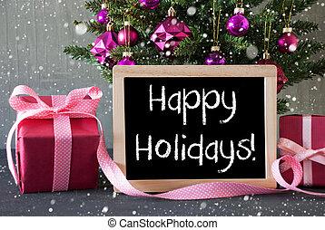 árvore, com, presentes, snowflakes, texto, feliz, feriados