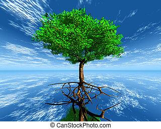 árvore, com, raizes, em, a, céu