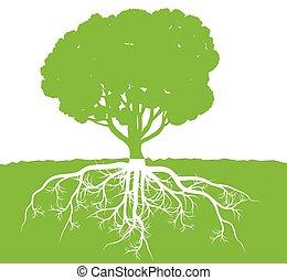 árvore, com, raizes, fundo, ecologia