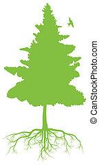 árvore, com, raizes, fundo, ecologia, vetorial