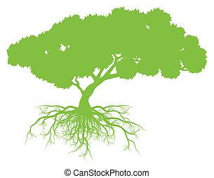 árvore, com, raizes, fundo, ecologia, vetorial, conceito,...
