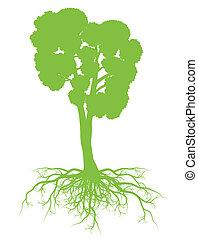 árvore, com, raizes, fundo, ecologia, vetorial, conceito, cartão