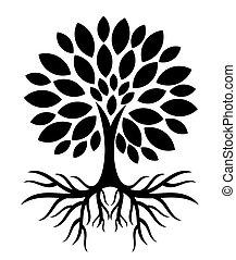 árvore, com, raizes, silueta