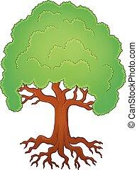 árvore, com, raizes, tema