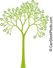 árvore, com, reciclagem, sinal, folhas