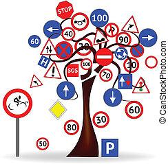 árvore, com, sinais estrada