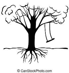 árvore, com, um, balanço