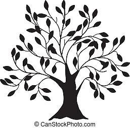 árvore, com, um, grossas, tronco