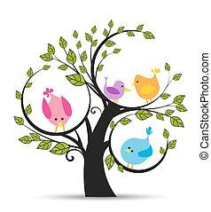 árvore, com, um, pássaros