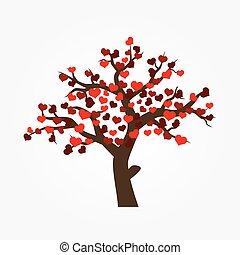 árvore, com, vário, vermelho, corações, para, valentine, ou, casório, eps10