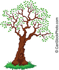 árvore, com, verde, leafage.