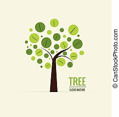 árvore., conceito, illustration., abstratos, árvore, experiência., vetorial, ecologia
