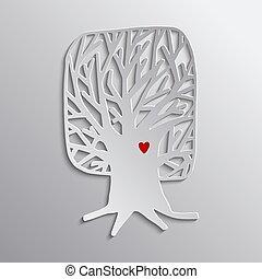 árvore, coração, conceito, cutout, desenho, para, natureza, ajuda