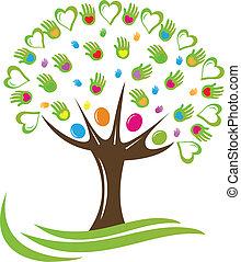 árvore, corações, e, mãos, logotipo
