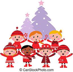 árvore, crianças, cute, caroling natal, multicultural