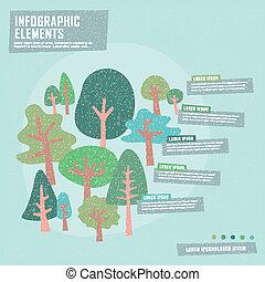árvore, criativo, desenho, infographics