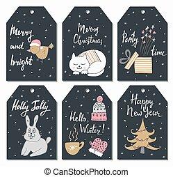 árvore., cute, pássaro, jogo, illustration., etiquetas, mittens, copo, gato, coelhinho, presente, vetorial, chapéu, desenhado, mão, style., natal