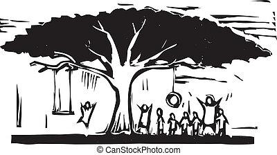 árvore, de, divertimento