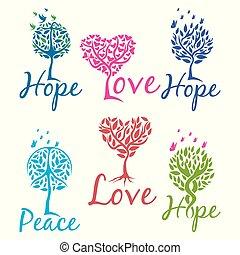 árvore, de, esperança, fé, e, amor, logotipo