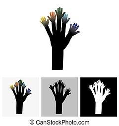 árvore, de, mãos, conceito, -, vetorial, logotipo, ícone