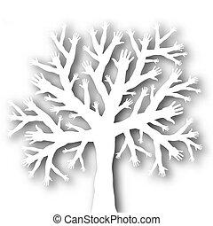 árvore, de, mãos
