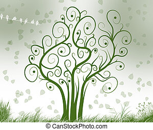 árvore, de, meditação