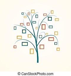 árvore, desenho, família