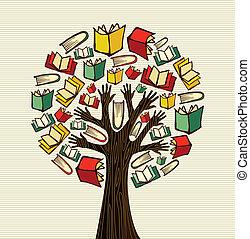 árvore, desenho, livros, mão, conceito