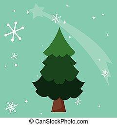 árvore, desenho, pinho