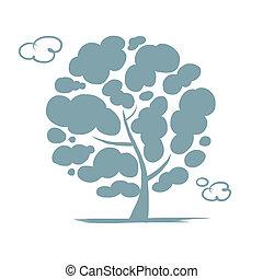 árvore, desenho, seu, nublado
