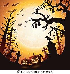 árvore, dia das bruxas, abóboras, morcegos, fundo, penduradas
