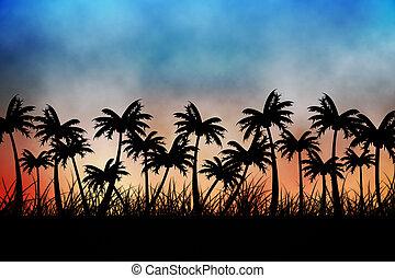 árvore, digitalmente, fundo, gerado, palma