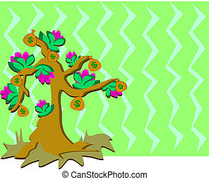 árvore dinheiro, com, flores, e, backgro