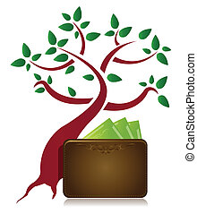 árvore dinheiro, ilustração, carteira