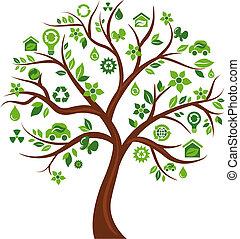árvore, ecológico, -, 3, ícones
