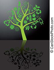 árvore, ecologia, com, reflexão
