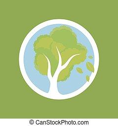 árvore, em, círculo
