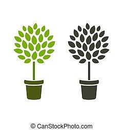 árvore, em, pote, ícone