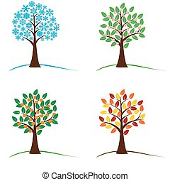 árvore, em, quatro estações, -, primavera, verão, outono, inverno