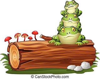 árvore, empilhado, registro, rã, caricatura