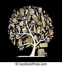 árvore, esboço, desenho, cerveja, seu