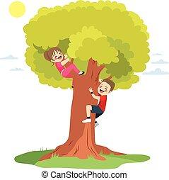 árvore escalando, crianças