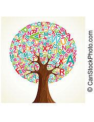 árvore, escola, conceito, educação